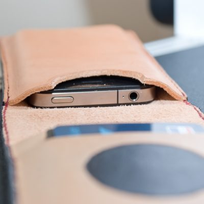 Handmade custom iPhone flip wallet