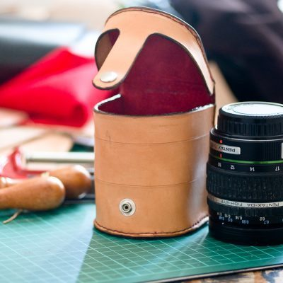 Handmade Leather Lens Case size comparison