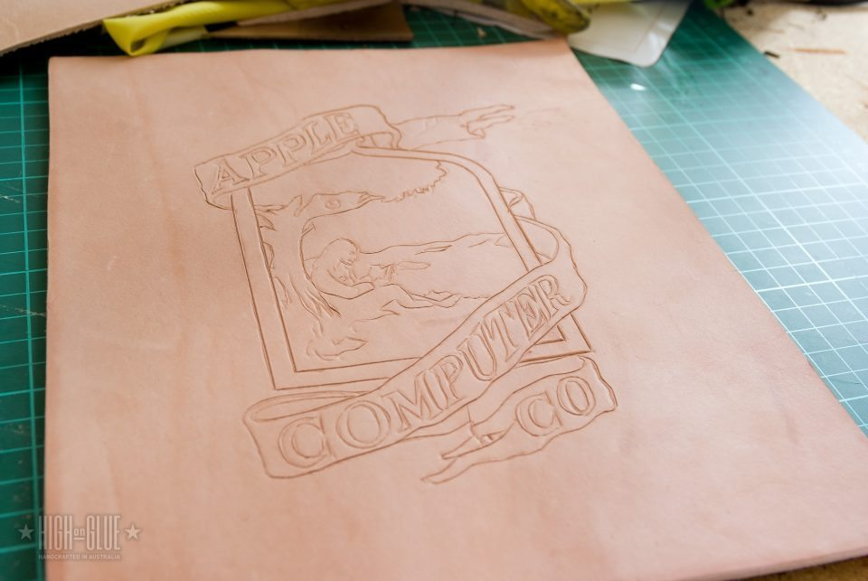 Complete logo on dried leather