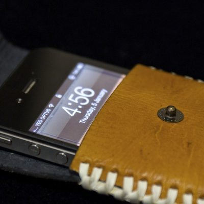 Simple iPhone 4 leather case: yellow&whiskey