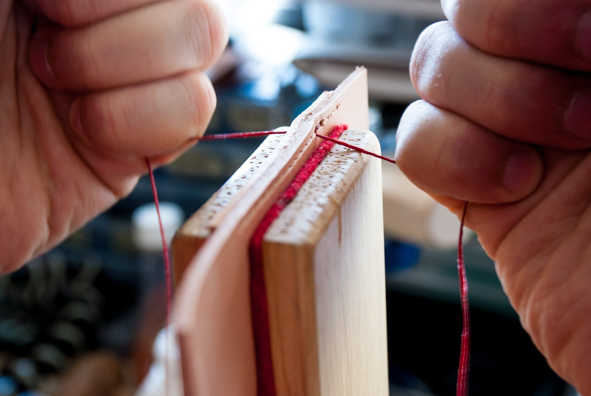Step 8: pull the thread tight & repeat previous step (Step 7) for each stitch