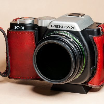 Leather Half Case with Finger Strap for Pentax K-01